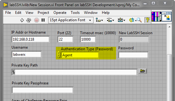 LabSSH New Session with Agent Authentication Highlighted