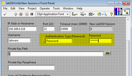 LabSSH New Session with Password Fields Highlighted