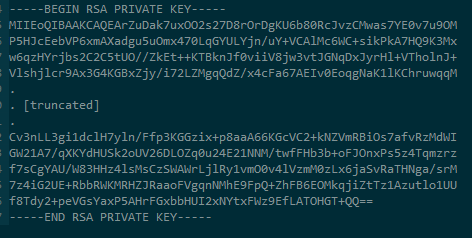 Truncated RSA Example Private Key File
